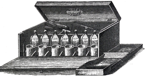 Cross-hatched drawing of a wooden box, open to show bottles and beakers within.