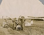 Arthur Butler refuelling the Comper Swift aeroplane G-ABRE, 1931.jpg