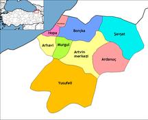 Provincia di Artvin-Suddivisione amministrativa-Artvin districts