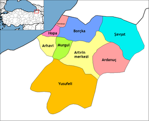Arhavi - Image: Artvin districts