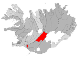Location of the Municipality of Ásahreppur