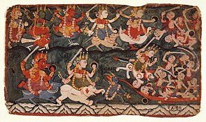 Kali - A painting made in Nepal depicting the Goddess Ambika Leading the Eight Matrikas in Battle Against the Demon Raktabija, Folio from a Devi Mahatmya. Chamunda or Kali (bottom right corner) drinking the blood of demons arising from Raktabiīa's blood.