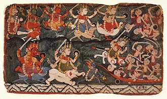 Varahi - The goddess Durga leads the eight Matrikas in battle against the demon Raktabija. The red-skinned Varahi (bottom row, leftmost) rides a buffalo and holds a sword, shield and goad. Folio from a Devi Mahatmya