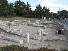 Resti di una chiesa bizantina ad Ascalona del IV secolo.