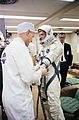 Astronaut David R. Scott, pilot of the Gemini-8 spaceflight, in the Launch Complex 16 trailer during suiting up.jpg