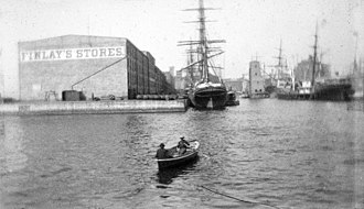 Historic Atlantic Dock warehouse in Brooklyn in the 1800s Atlantic Dock, Brooklyn, ca. 1872-1887. (5833485842).jpg