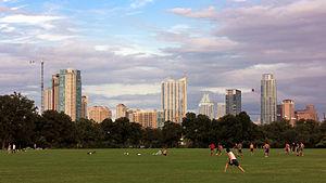 Zilker Park - Austin skyline from Zilker Park