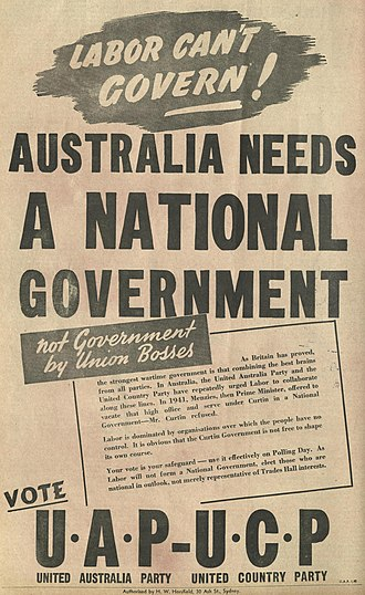Political advertisement in The Bulletin promoting the Coalition at the 1943 federal election Australia Needs A National Government (cropped).jpg