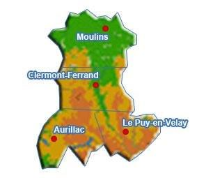 Auvergne geographic map