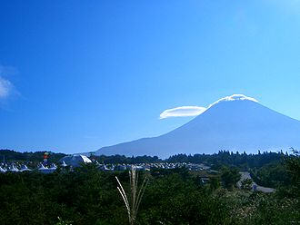 Yoru no Odoriko - The music video features the band performing in a field against a summer view of Mount Fuji (pictured).