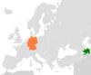 Lage von Deutschland und Aserbaidschan
