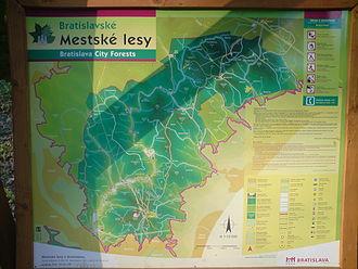 Bratislavský lesný park - Map of the Bratislava Forest Park.