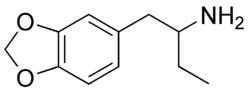 Strukturformel des 2-Amino-1-(3,4-methylendioxyphenyl)butans