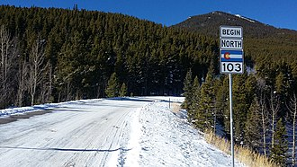 Colorado State Highway 103 - State Highway 103 near the southern terminus