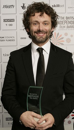 Actor Michael Sheen with his BIFA Award
