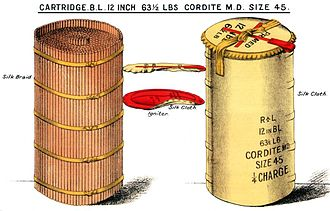 Armstrong Whitworth 12 inch /40 naval gun - Image: BL12inch Cordite Cartridge 63.5lbs Diagram