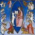 BL Royal MS 19 D III f. 596 - Apocalypse - Lamb takes book- crop.jpg
