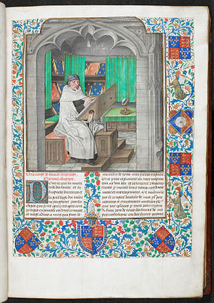 Royal manuscripts, British Library - Author portrait of Vincent de Beauvais with borders decorated with the arms of Edward IV in Bruges, c. 1478-1480, Royal MS 14 E I vol 1 f3r