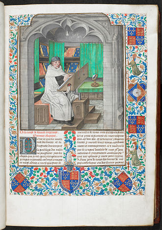 Scriptorium - Miniature of Vincent of Beauvais writing in a manuscript of the Speculum Historiale in French, Bruges, c. 1478–1480, British Library Royal 14 E. i, vol. 1, f. 3, probably representing the library of the Dukes of Burgundy.
