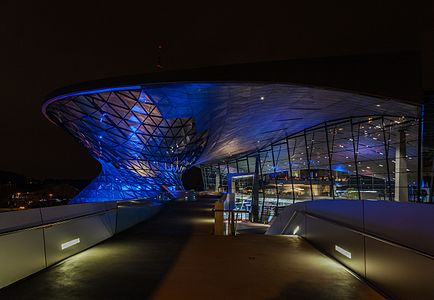 Night view of the BMW Welt, Munich, Germany