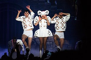 "Bad Romance - Gaga and her dancers performing ""Bad Romance"" during the Born This Way Ball tour, 2012"