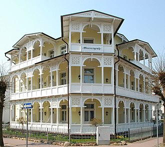 "Resort architecture - Villa Meeresgruss (""Sea Greeting"") in Binz, Rugia Island - a typical mansion in German resort architecture style"