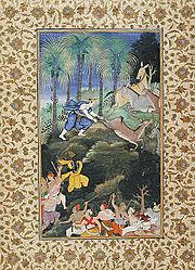 Balarama Kills Dhenukasura, Folio from a Harivamsha (Lineage of Hari, Vishnu), ca 1585-1590
