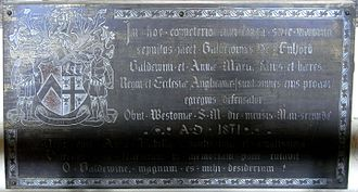Great Fulford - Monumental brass to Col. Baldwin Fulford (1801–1871), erected by his wife, in Dunsford Church
