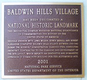 Village Green, Los Angeles - Image: Baldwin Hills Village, Landmark Plaque