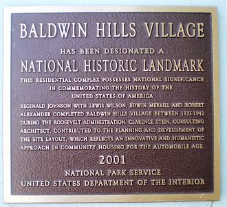 Baldwin Hills, Los Angeles - Baldwin Hills Village National Historic Landmark Plaque, at Village Green.