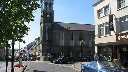 Ballymoney town clock. Ballymoney Town Clock and masonic Hall.jpg