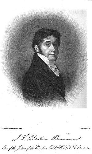 John Thomas Barber Beaumont - John Thomas Barber Beaumont, 1822 engraving.