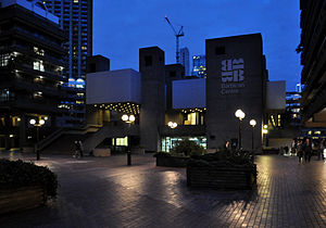 London, Barbican Centre at night