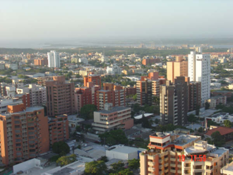 Caribbean region of Colombia - View of Barranquilla's skyline, the Magdalena river flowing into the Caribbean sea in the background. Barranquilla is considered the capital of the Colombian Caribbean