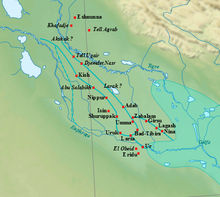 Map showing the extent of the Early Dynastic Period (Mesopotamia)