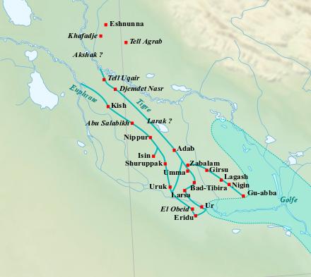 Les sites principaux de Basse Mésopotamie durant la période sumérienne.