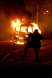 Cars are sometimes torched during riots