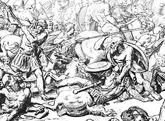 Alcibiades - Battle of Potidaea (432 BC): Athenians against Corinthians (detail). Scene of Socrates saving Alcibiades. 18th century engraving.