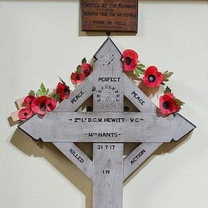 Dennis George Wyldbore Hewitt - Hewitt's battlefield cross, erected by his regiment though his body was never recovered