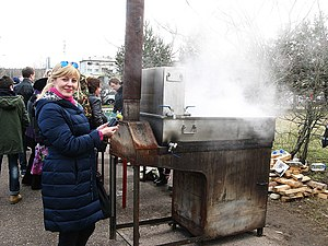 Birch syrup - Birch sap Festival, Russia. Evaporation of birch sap into birch syrup.