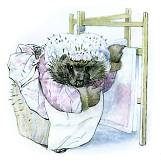 The Tale of Mrs. Tiggy-Winkle - Mrs. Tiggy-winkle with Jenny Wren's wine-stained table cloth