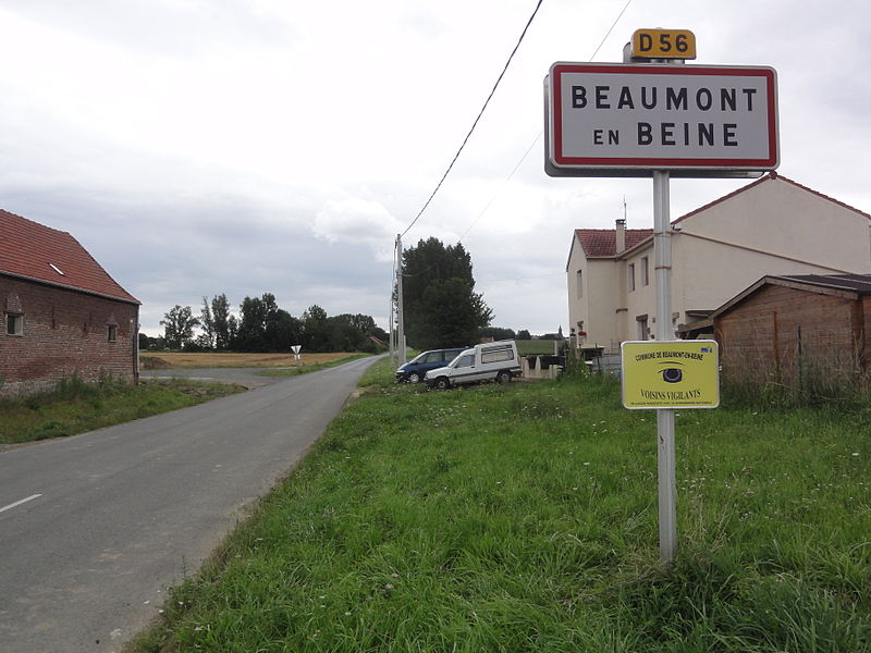 Beaumont-en-Beine (Aisne) city limit sign