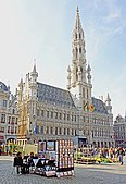 The Brussels Town Hall, built between 1402 and 1420 in the famous Grand Place