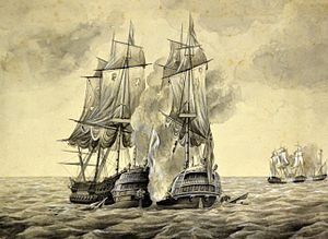 HMS Brilliant (1757) - Battle of Cape Finisterre, 1761. Brilliant is engaged with Maliceuse and Hermione at far right. From a painting by H. Fletcher, c.1890