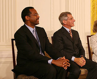 Anthony S. Fauci - Ben Carson and Anthony Fauci (right) being announced as a recipients of the Presidential Medal of Freedom at the White House on June 19, 2008.