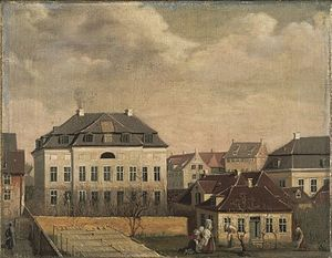 Medical Museion (Copenhagen) - The rear side of the building seen from a window in Fødselsstiftelsen (Amaliegade 25) in c. 1840
