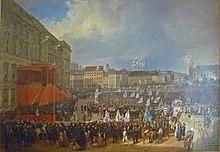 Huldigung vor Friedrich Wilhelm IV. am 15. Oktober 1840 vor dem Königlichen Schloss zu Berlin, Gemälde von Franz Krüger, 1844 (Quelle: Wikimedia)