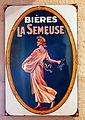 Bières La Semeuse , enamel advertising sign at the Musée Européen de la Bière.JPG
