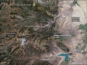 Heart Mountain (Wyoming) - Satellite photo of Heart Mountain and the surrounding area