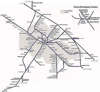 Map of the West Midlands passenger railway network Birmingham & West Mids Passenger Railway Map.JPG